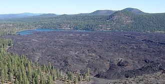 Cinder Cone and the Fantastic Lava Beds - The fresh look of the Fantastic Lava Beds (here seen from Cinder Cone) led earlier observers to conclude they were at most a few decades old