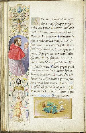 Giulio Clovio - Clovio's patron, Cardinal Alessandro Farnese, from the Farnese Hours