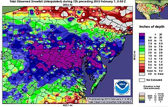 February 5–6, 2010 North American blizzard - February 5–6, 2010 North American blizzard Mid Atlantic snowfall accumulation (from the National Weather Service).