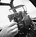 Ferranti Mark IID gyroscopic gunsight mounted in a Supermarine Spitfire Mk IX of No. 127 Wing RAF at B2-Bazenville, Normandy, 17 August 1944. CL854.jpg