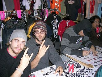 Fightstar - The band at an in-store autograph session
