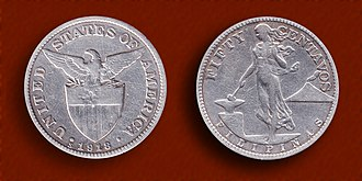 Philippine peso - United States Administration 50 centavos silver coin minted in San Francisco in 1918.