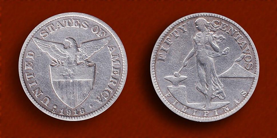Filipinas (PI) 50 Centavos Silver Coin 1918 (s)