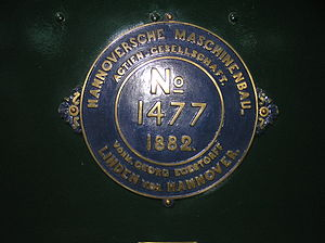 Hanomag - Builder's Plate of Hannoversche Maschinenbau locomotive No 1477 of 1882 0-6-0 at the Finnish Railway Museum