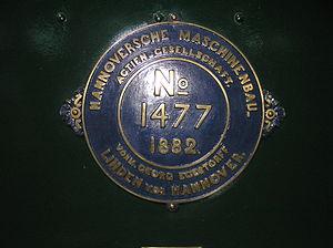 Hanomag - Builder's Plate of Hannoversche Maschinenbau locomotive No 1477 of 1882 0-6-0 at the Finnish Railway Museum