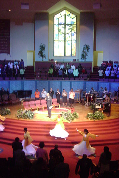 The First Cathedral, A Megachurch in Bloomfield Connecticut, during Sunday Morning Praise and Worship