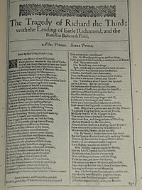 Faksimil av första sidan i The Tragedy of Richard the Third: with the Landing of Earle Richmond and the Battell at Bosworth Field från First Folio, publicerad 1623