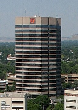 First Interstate Center, in downtown Billings, is the tallest building in Montana. First Interstate Center, Billings, MT cropped.jpg