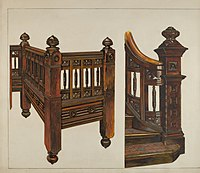 Watercolor of wooden balustrade