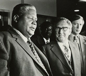 Joshua Nkomo - Joshua Nkomo meeting with U.S. Secretary of State Henry Kissinger in Zambia during 1976