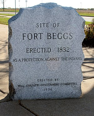 Fort Beggs - Image: Fort beggs monument plainfield illinois