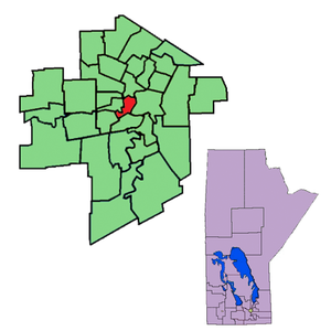 Fort Rouge (electoral district) - The 1999-2011 boundaries of the riding of Fort Rouge highlighted in red.
