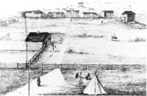 Fort Livingstone (Saskatchewan) - Sketch of Fort Livingstone circa 1877