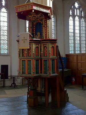 Church of St Mary and All Saints, Fotheringhay - Pulpit given by Edward IV