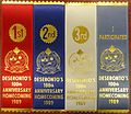 Four ribbon awards from 'Deseronto's 100th Anniversary Homecoming 1989', a red one for first prize, a dark blue for second prize, a white for third prize and a pale blue for 'I particpated'. (8720179769).jpg