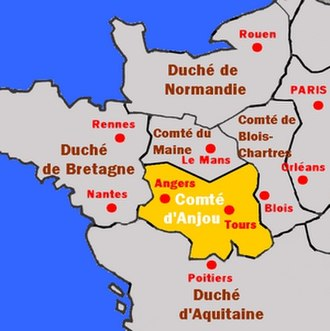 Geoffrey I, Count of Anjou - Anjou and surrounding territories.