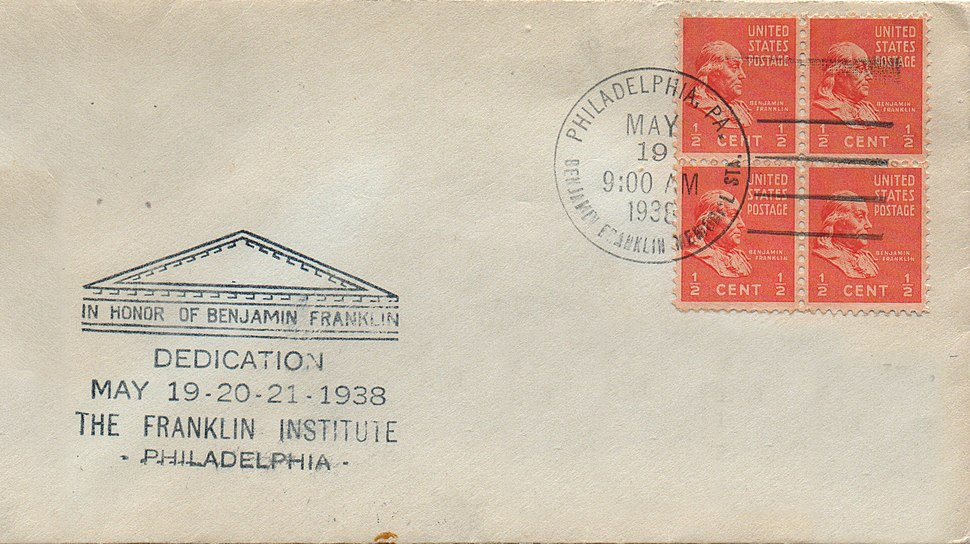 Franklin 1-2%C2%A2 Scott 803 FDC at Franklin Institute May 19, 1938