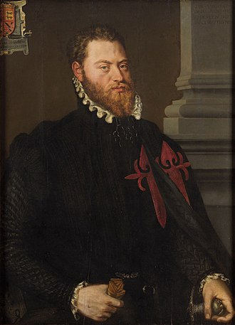 Order of Santiago - Portrait of Íñigo López de Mendoza with the embroidered cross of the order, by Frans Pourbus the Elder