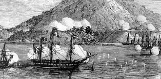Da Nang - French warships off Đà Nẵng (Tourane) September 1858. What started as a punitive campaign against the Vietnamese,  had turned into a long, bitter and costly defeat for the Franco-Spanish Force. This led to the colonization of Vietnam.