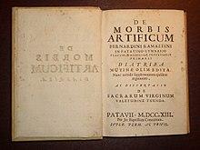Frontespizio dell'edizione definitiva dell'opera De Morbis Artificum Diatriba (Padova, 1713)