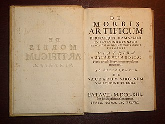 Bernardino Ramazzini - Frontpage of the definitive 1713 edition of the Diatriba