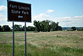 Ft Lincoln State Park sign, from the car, hwy 1806.jpg