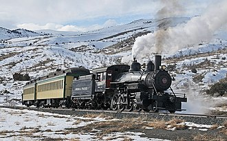 Mound House, Nevada - Virginia and Truckee Railroad excursion train climbing out of Mound House, March 2011.