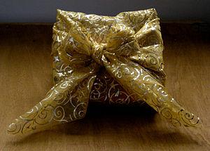Christmas gift wrapped in furoshiki style (Vie...