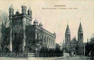 Głubczyce - Former Leobschütz Synagoge, destroyed in 1938, with still existing parish church in the background
