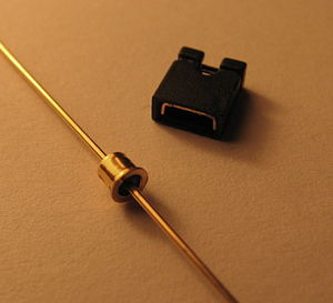 "Tunnel diode - 1N3716 tunnel diode (with 0.1"" jumper for scale)"