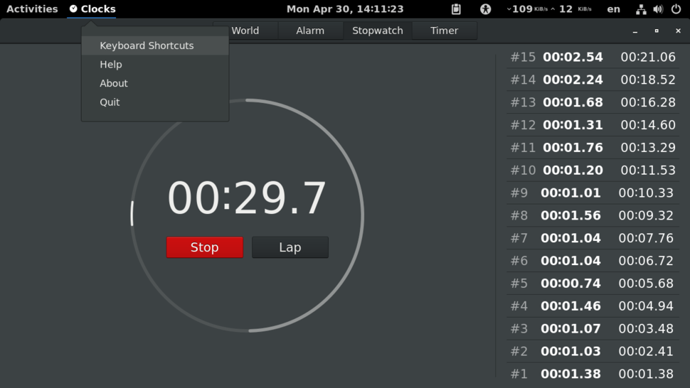 GNOME Clocks v3.22