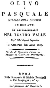 Titelblatt des Librettos zu Olivo e Pasquale, Rom 1827 (Quelle: Wikimedia)