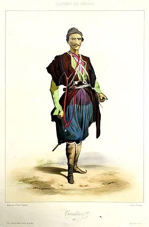 Tushetians - A Tushetian man; by Grigory Gagarin, 1840s