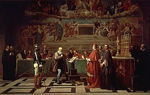 Galileo affair - Galileo before the Holy Office, a 19th-century painting by Joseph-Nicolas Robert-Fleury
