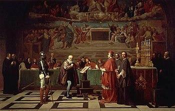 Galilée face au tribunal de l'Inquisition Catholique Romain peint au XIXe siècle par Joseph-Nicolas Robert-Fleury.