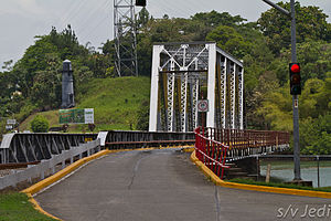 Gamboa, Panama - The single lane bridge with its traffic light