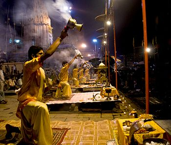 English: Ganga aarti at Varanasi.