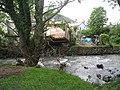 Garden shed transported by the Leri flood, Tal-y-bont, June 2012.JPG
