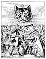 Gato de Cheshire olhando de cima o Rei e a Rainha querelantes.jpg