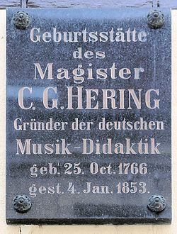 Photo of C. G. Hering black plaque