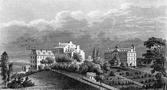 Georgetown College shortly after Mulledy's time there Georgetown University c. 1850.jpg