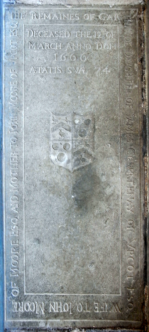 Ledger stone - Ledger stone to Gertrude Courtenay (1592-1666) of Upcott, Cheriton Fitzpaine, Devon, in the Upcott Chapel forming the east end of the north aisle of St Matthew's Church, Cheriton Fitzpaine