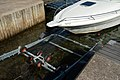 Getting the boat out of the water 3 - Winching the boat onto the trailer.jpg