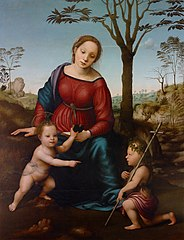 Madonna and Child Seated in a Landscape with Saint John the Baptist