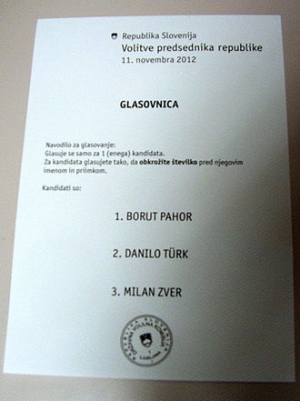 Slovenian presidential election, 2012 - Ballot paper in the first round of voting. The sequence of candidate options was determined via lottery.