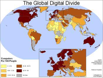 世界の情報格差を示す地図