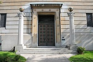 Montreal Masonic Memorial Temple - Main door of the Grand Lodge of Quebec flanked by the columns Boaz and Jachin.