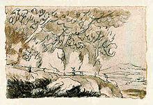 Die Solfatara von Pozzuoli, lavierte Tuschezeichnung von Johann Wolfgang von Goethe, 1787 (Quelle: Wikimedia)