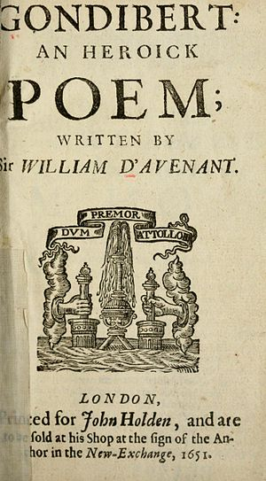 William Davenant - The title page of the 1651 edition of Gondibert