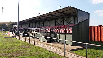 Barking Rugby Football Club - The main stand at Goresbrook